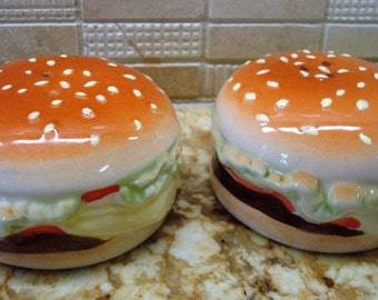 Vintage Hamburger Salt & Pepper Shakers - Circa 1970's - Excellent Condition!!