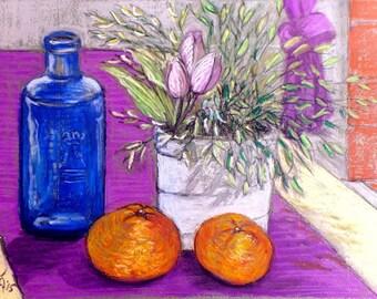 "Original Pastel Painting, FREE SHIPPING Worldwide, 11"" x 9"", Still-Life, Wall Decor, Home decor, Flowers, mandarins, housewarming gift"