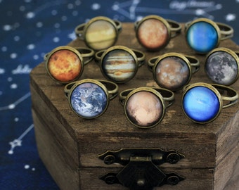 Planet Ring, Solar System Ring, Retro Planet Ring, Earth Ring, Moon Ring, Jupiter Ring, Galaxy, Space, Universe, Solar System, Astronomy