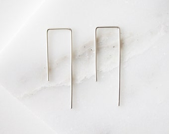 Silver Geometric Threader Earrings, Square Bar Earrings,  Sterling Silver Wire Square Earrings, Simple, modern, and minimalist