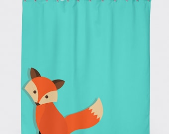 Fox Shower Curtain, Kids Shower Curtain, Boys Shower Curtain, Aqua Shower  Curtain,