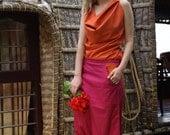 Pantalon-jupe, design unique orange/rose– imprimé peasley bleu/rose