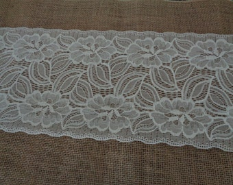 Vintage  Burlap and Lace Table runner  (12 X 108) 2016-2