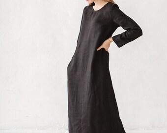 Linen dress/ Long linen dress/ Maxi linen dress/ Washed linen dress/ Soft linen dress/ Winter linen dress/  #12 River