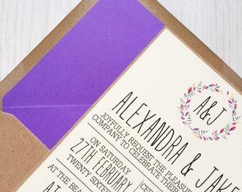 Rustic wedding invitation - purple wreath - kraft wedding invitation - rustic wedding invitation bundle