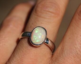 Ethiopian Fire Opal Ring Set In Sterling Silver Size 9, Solid Opal Ring,  Welo Opal OPR12