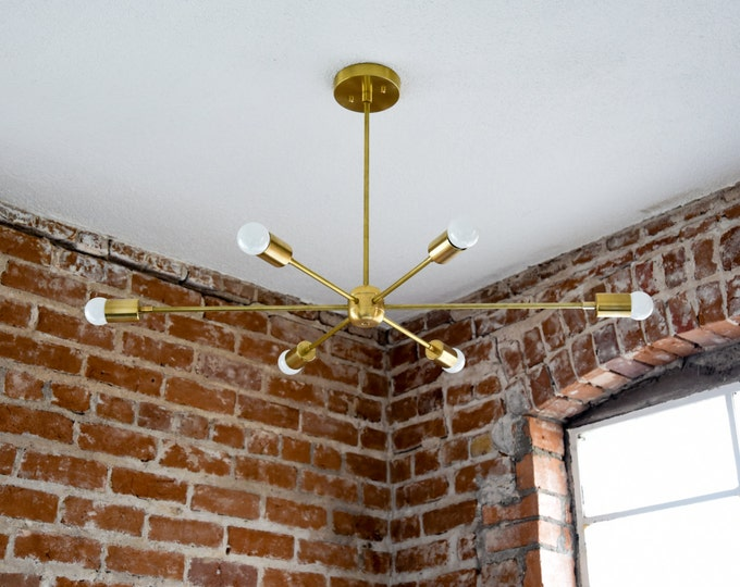 "Free Shipping! Large 36"" Modern Gold Brass Starburst Chandelier 6 Arm Pinwheel Bulb Sputnik Mid Century Dining Room Hanging Light UL Listed"