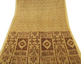 Vintage Indian Traditional Clothing Art Deco Pure Silk Recycled Saree Printed Fabric Women Wrap Craft Paisley Beige Indian Sari  PS42382