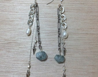 Sterling Silver Aquamarine and Pearl Earrings