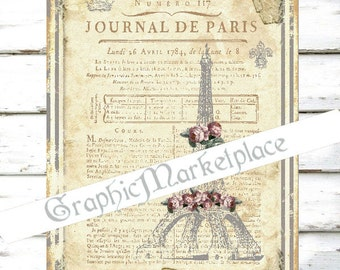 Journal de Paris Eiffel Tower French Lace Old Paper Transfer Large Image Instant Download Vintage Fabric digital sheet printable No. 1181