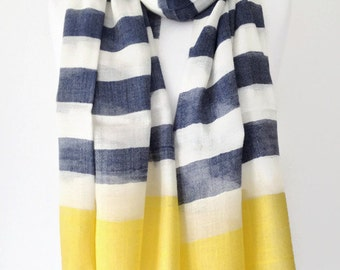 Blue Striped Scarf , Large Blue Yellow and Cream Scarf, Fair Trade Scarf ,Stripes