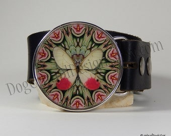 Belt Buckle Pink and Green Butterfly kaleidoscope Womens Belt Buckle Choice of Buckle Finish Womens Clothing