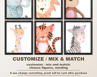 safari animal prints, safari nursery art, safari baby animal nursery, zoo animal nursery, jungle nursery decor, watercolor nursery art