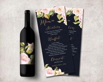 Wedding Menu Card Printable, Floral Wedding Menu, Navy Gold and Pink Wedding Menu, Modern Wedding Menu, Printable Wedding Menu, Digital