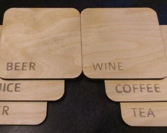 Cool Wine/Coffee/Beer Drink Coasters (set of 6)
