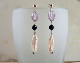 Modern Gemstone Earrings Rose de France Pink Amethyst Black Spinel White Biwa Pearl Elegant Minimalist High End Fine Jewelry Life BIjou