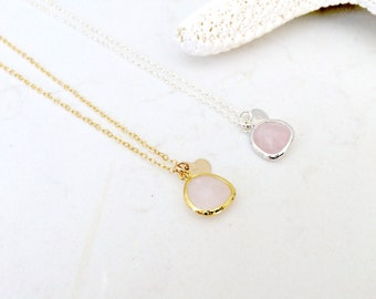 rose quartz necklace monogram necklace initial necklace heart initial 14k Gold Filled custom initial letter monogram jewelry bridesmaid sets