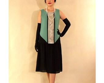 Black and sea green art deco dress, Great Gatsby dress, 1920s flapper dress, art deco fashion, Charleston dress, black and green 20s dress