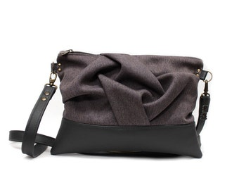 Lavender Crossbody Bag, Gray Vegan Handbag, Lavender Messenger, Faux Leather Bag, Gray Cross Body Bag, Vegan Leather Bag, Gray Messenger Bag