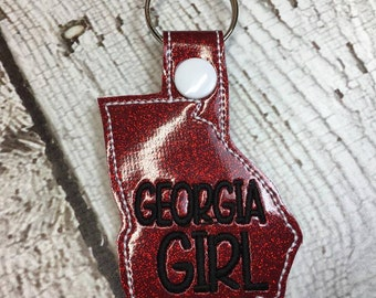 Georgia Outline Key Fob - In The Hoop - Snap/Rivet Key Fob - DIGITAL Embroidery Design