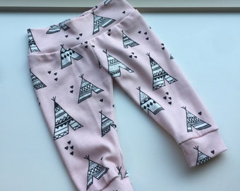 Trendy Teepees -Baby Girl Leggings - Pink Teepees  - Organic Cotton Fabric - Spoonflower - Knit
