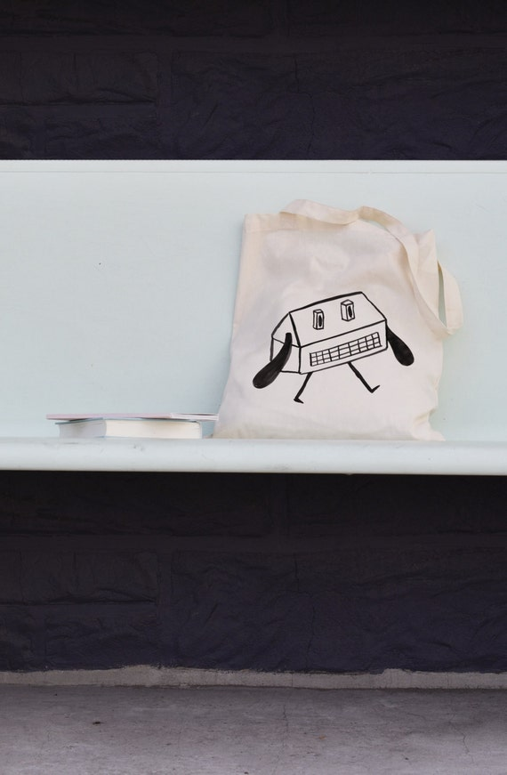 Long handle organic cotton tote bag made in collaboration with Pea les maisons