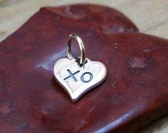 Small, Sterling Silver XO Heart Charm, Hugs and Kisses, Love Charm, Silver Heart Charm, Gift for Her, Hug and Kiss Charm, Lovers Charm,Heart
