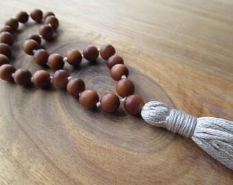27 Bead Sandalwood Pocket Mala with Silver Tassel, Meditation Beads, Buddhist Prayer Beads, Japa Mala, Hand Knotted Mala, Small Yoga Mala