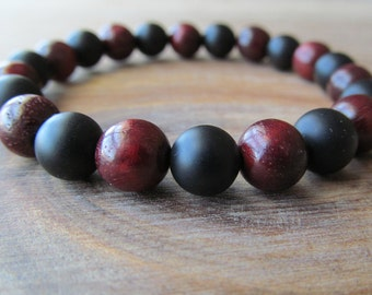 Matte Black Onyx and Rosewood Bracelet, Mens Beaded Bracelet, Mala Bracelet, Layering Bracelet, Wood Bracelet, Tribal Bracelet, Black Onyx