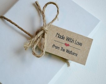 Made with Love - Personalized Kraft Label Tags - Small Custom Gift, Merchandise and Candy Tags