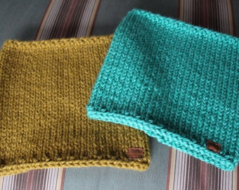 Knit Neckwarmer Cowl Scarves in Olive and Spearmint