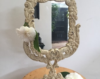 Vintage vanity mirror / 1970s / metal base, swivel head