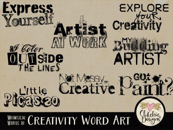 Word Art Clip Art Creative Digital Scrapbook Word Art Titles
