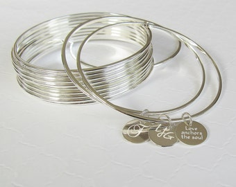 Personalized Silver Bangle Bracelet, Charm Bracelet, Initial Bracelet, Name Bracelet, Mother Daughter Bracelets, Simple Bracelet, Engraved