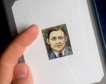 Mini TS Eliot Portrait Painting, Framed
