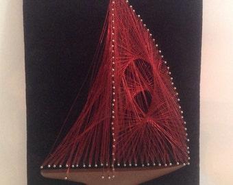 vintage l970's handmade crafted red string wire art sail boat ship resin base black velvet MDF wood mounted