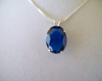 Lab Grown Sapphire Pendant in Sterling SIlver with chain 16x12mm