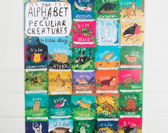 Animal Alphabet A2 Poster - FREE UK POSTAGE -The Alphabet of Peculiar Creatures - Axolotl - Kids gift - Childrens gift - Fact poster