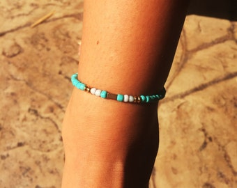 Turquoise And Gold Beaded Adjustable Anklet