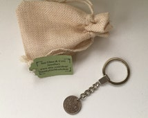 1967 keychain, sixpence keyring, 49th birthday gift, lucky sixpence, retirement gift, anniversary gift, british coin keychain, purse charm