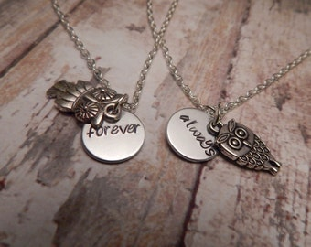 Forever and Always Owl Necklace Set - Best Friend or Couples Necklace Set with Owl Charms - Custom Necklace Set