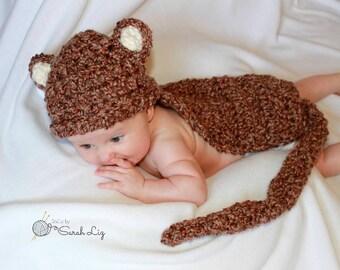 Crocheted Monkey Photo Prop, Newborn Monkey Photo Prop, Monkey Hat and Tail, Crochet Monkey Tail, Baby Monkey Photo Prop, Baby Monkey Hat