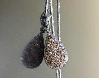 14K White Gold Rose Gold Art Deco Diamond Necklace - 14K Two Tone Gold Diamond Pendant - Rose Gold Diamond Necklace - White Gold Necklace