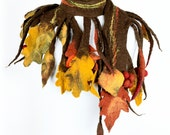 Autumn scarf with leaves - rustic seasonal scarf with fruits of fall - Thanksgiving scarf - fall scarf - felted scarf for autumn fairy [S1]