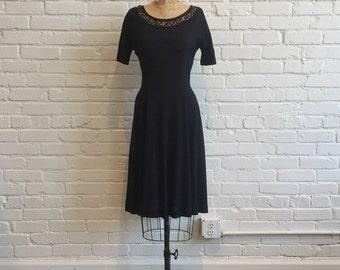 1960s Black Dress Tatted Neckline // 60s Black LBD Dress // Vintage 1960s Black Dress