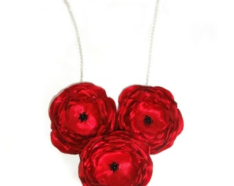 Red Flower Bridesmaid Necklace, Custom Bridal, Bib Necklace, Statement Jewelry, Big Bold Chunky, Fabric Flowers, Red Rose Jewelry