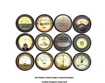 Industrial Meter Drawer Pulls - Steampunk, Machine Gauges, Vintage, Antique, Grungy, Old, Mancave, Garage -Dresser, Cabinet Knob - 815Z32