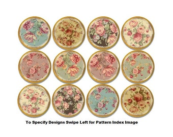 Antiqued Shabby Cottage Florals on Natural Wood Cabinet Drawer Knobs - Vintage Victorian Decor, Country French, Chic, Dresser Pull - 815V9