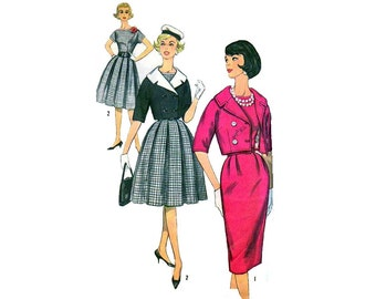 """One Piece Dress with Two Skirts, Jacket and Detachable Collar Sewing Pattern Misses Size 12 Bust 32"""" Simplicity 3790"""
