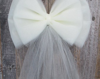 Small Tulle Bow | Ivory, White, Pink | Wedding Ceremony Decorations| Chair Sash Bow | Church Aisle | Party Bridal Baby Shower